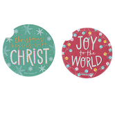 Renewing Faith, Joy To The World Car Coasters, Absorbent Sandstone, 2 1/2 inches, Set of 2