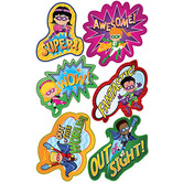 Superheroes Collection, Self Adhesive Superhero Shaped Stickers, Multi-Colored, Pack of 30