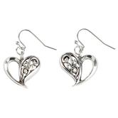 Bella Grace, Heart Shaped Dangle Earrings, Zinc Alloy & Iron, Silver