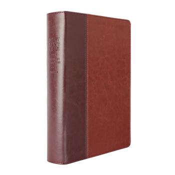 NLT Every Man's Large Print Bible, TuTone, Dark Brown and Tan