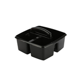 Storex, Small Caddy, Black, 3 Compartments, Plastic, 9.25 x 9.25 x 5.25 Inches, 1 Piece