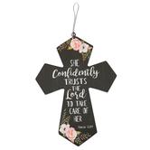 Mini Cross, Psalm 112:7 Floral, MDF Wood, Black, 4 x 5 1/2 inches