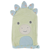 Stephen Joseph, Dinosaur Baby Bath Mitt, Cotton, Green & Blue, 5 1/2 x 8 inches