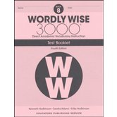 Wordly Wise 3000 4th Edition Test Booklet 8, Paperback, Grade 8