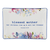 Heartfelt, Proverbs 31:28 Blessed Mother Trinket Tray, Ceramic, 6 x 4 x 1/4 inches