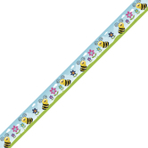 Renewing Minds, Bumble Bees Trimmer, 38 Feet, Saffron, Black, Pink, Purple, Blue, and Green