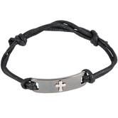 Soul Anchor, Cross Black Cords of Faith Bracelet, 7 1/2 inches