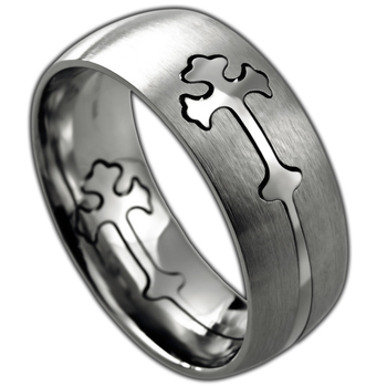 Spirit & Truth, Removable Double Cross, Men's Ring, Stainless Steel