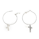 His Truly, Faceted Hoop Earrings with Cross Charm, Zinc Alloy, Silver