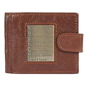 Christian Art Gifts, Jeremiah 29:11 I Know the Plans Bi-fold Wallet, Genuine Leather, Brown, 5   1/8 x 4 1/4 x 1 inches