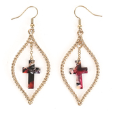 By His Grace, Rope with Acetate Cross Dangle Earrings, Zinc Alloy and Brass, Gold