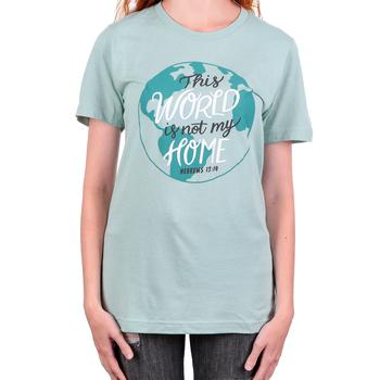 NOTW, Hebrews 13:14 This World Is Not My Home, Women's Short Sleeve T-Shirt, Light Green, XS-2XL