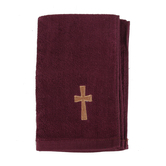 Swanson, Cross Hand Towel, Cotton, Burgundy & Gold, 10 x 15 inches