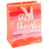 DaySpring, Great Things Gift Bag with Tissue, Coral and White, 7 3/4 x 9 3/4 x 4 3/4 inches