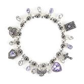 Modern Grace, Guardian Angel Beaded Charm Bracelet, Zinc Alloy, Silver and Purple