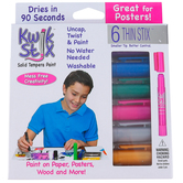 The Pencil Grip, Kwik Stix Thin Stix Solid Tempera Paint, Metalix, Multi-Colored, Set of 6, Grades PreK-Adult