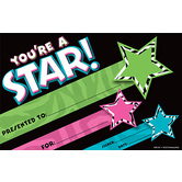 Renewing Minds, Zebra Stars Collection, You're a Star! Certificate, 8.5 x 5.5 Inches, Pack of 30
