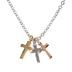 H.J. Sherman, Tri-Toned Triple Cross Necklace, Silver Plated, 18 inches