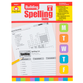 Evan-Moor, Building Spelling Skills Grade 4 Teacher's Edition, Reproducible, Paperback, 160 Pages