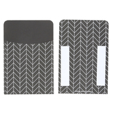 Isabella Collection, Self-Adhesive Library Pockets, Black and White Chevron Design, 3.5 x 5.25 Inches, Pack of 25