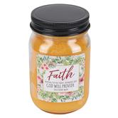 Blossom Bucket, Simple Essentials, Faith God Will Provide Jar Candle, Orange, 12 ounces