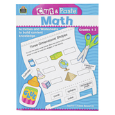 Teacher Created Resources, Cut and Paste Math Workbook, Reproducible, 96 Pages, Grades 1-3