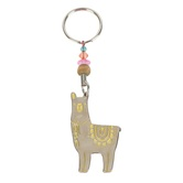 Natural Life, Llive Happy Llama Token Keychain, Zinc Alloy, White/Yellow, 1 1/4 x 1 1/4 Inches