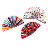Colorfetti Collection, Double-Sided Accent Paper Fans, 6 x 6 Inches, 3 Designs, Set of 9