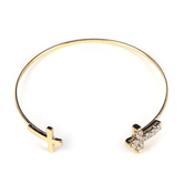 Faithful and Fabulous, Cross Wire Bracelet, Iron and Zinc Alloy and Cubic Zirconia, Gold
