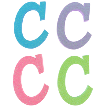 Glitter Foam Alphabet Letter Upper Case - C, 4 x 5.5 x .50 Inches, 1 Each, Assorted Colors