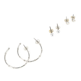 Faithful and Fabulous, Hoops and Pearls Earring Set, Brass and Plastic, Silver, 3 Pairs