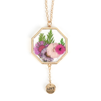 Faith in Bloom, Octagon Pendant Necklace, Zinc Alloy, Gold, 22 Inch Chain