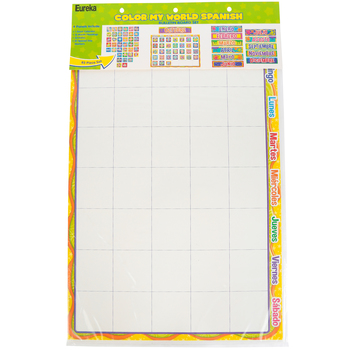 Eureka, Color My World Spanish Calendar Bulletin Board Set, 83 Pieces