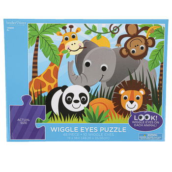Brother Sister Design Studio, Safari Animals Wiggle Eyes Puzzle, 48 Pieces, 19 x 14 inches