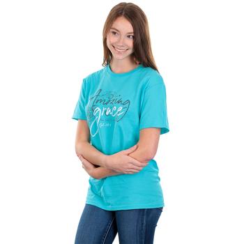 Kerusso, Ephesians 2:8-9 Amazing Grace, Women's Short Sleeve T-shirt, Scuba Blue, S-3XL