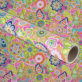 Brother Sister Design Studio, Bright Floral Gift Wrap Roll, Lime and Pink, 50 Square Feet