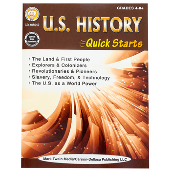 Carson Dellosa, U.S. History Quick Starts Workbook, 64 Pages, Grades 4 and up