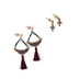 Radiant Sol, Cross and Beaded Chandelier Earring Set, Zinc Alloy and Glass, Gold and Burgundy, 2 Pairs