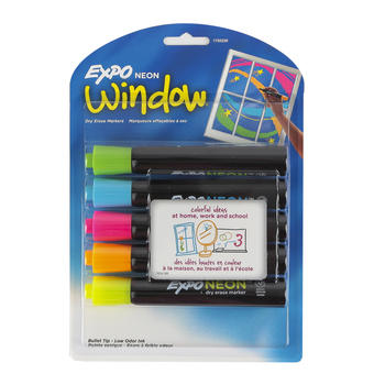 Expo, Low-Odor Window Dry Erase Markers, Bullet Tip, 5-Pack, Neon Assorted Colors