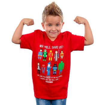 Gardenfire, Zephaniah 3:17 Pixel Hero, Kid's Short Sleeve T-Shirt, Red, YS-YL