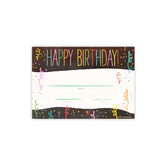 Chalk Talk Collection, Happy Birthday! Certificate, 8.5 x 5.5 Inches, Multi-Colored, Pack of 30