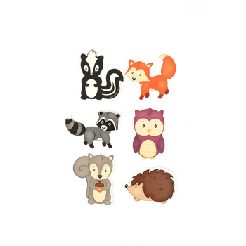 Woodland Tails Collection, Mini Cutouts, 3 x 3 Inches, 6 Designs,  Pack of 36