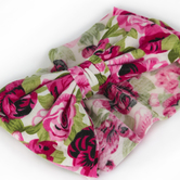 Creations of Grace, Baby Bow Fabric Headband, Rose Floral, 6 1/2 inches, 1 Headband
