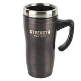 Christian Art Gifts, Philippians 4:13 Strength Travel Mug, Stainless Steel, Brown, 16 ounces