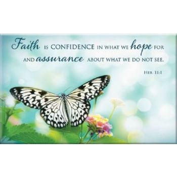 Christian Art Gifts, Hebrews 11:1 Faith Is Confidence Butterfly Magnet, Blue, 3 x 2 inches