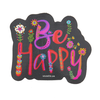 Natural Life, Be Happy Shaped Sticker, Vinyl, 4 inches
