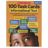 Scholastic, 100 Task Cards: Informational Text Activity Book, Reproducible, 80 Pages, Grades 4-6