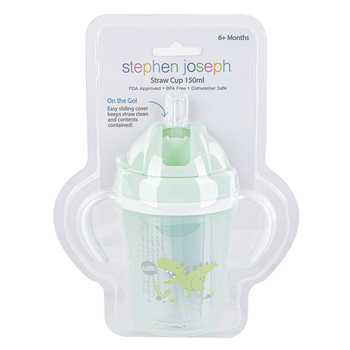 Stephen Joseph, Dinosaur Baby Cup with Straw, Plastic & Silicone, Green, 2 1/2 x 2 1/2 x 5 1/2 inches