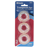 Bazic Products, Transparent Tape Rolls, 3/4 x 1000 Inches Each, Set of 3