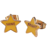 Glitter and Grace, Shine Bright Star Stud Earrings, Zinc Alloy, Yellow and Gold